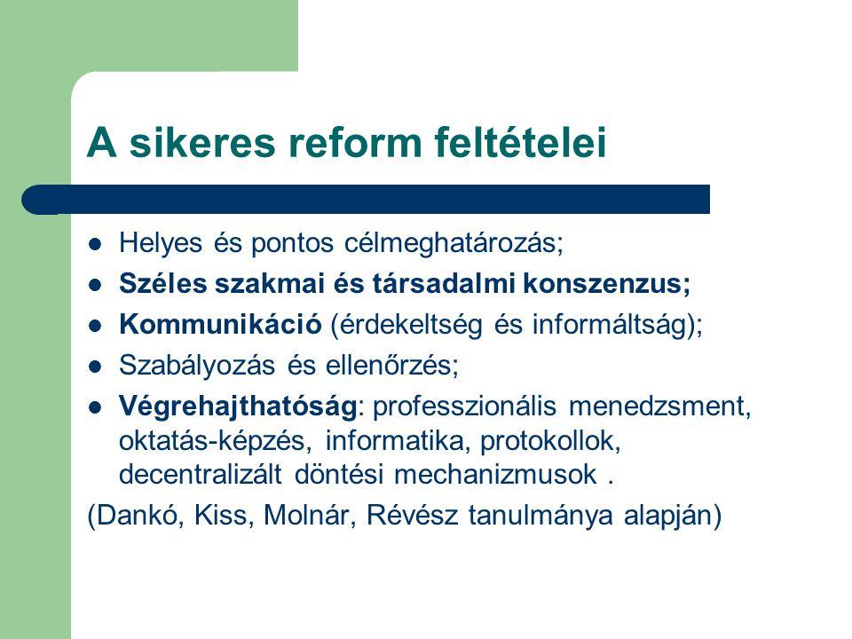 A sikeres reform feltételei  Helyes és pontos célmeghatározás;  Széles szakmai és társadalmi konszenzus;  Kommunikáció (érdekeltség és informáltság