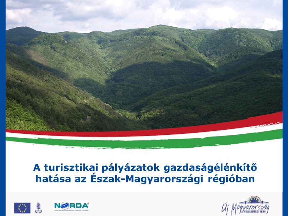 A fejlesztési stratégia célrendszere Átfogó cél: •A régió gazdasági versenyképességének javítása, figyelemmel a régión belüli területi, társadalmi-gazdasági különbségek mérséklésére Specifikus célok: •A gazdagság helyi erőforrásokat, együttműködéseket kihasználó versenyképességének javítása •A turizmus jövedelemtermelő képességének javítása •A társadalmi kohézió erősítése, vonzó gazdasági-, lakókörnyezeti kialakítása