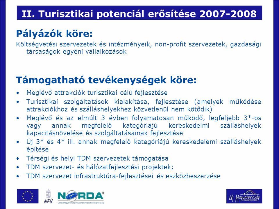 II. Turisztikai potenciál erősítése 2007-2008 Pályázók köre: Költségvetési szervezetek és intézményeik, non-profit szervezetek, gazdasági társaságok e