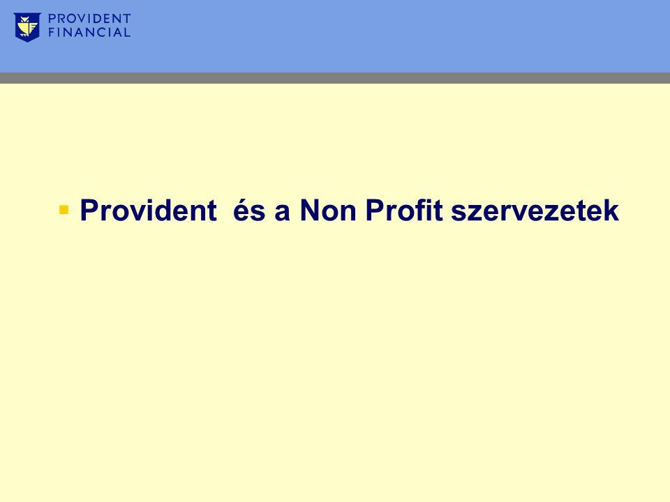  Provident és a Non Profit szervezetek