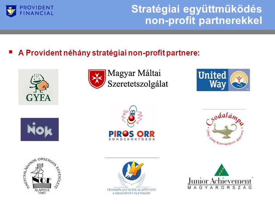  A Provident néhány stratégiai non-profit partnere: Stratégiai együttműködés non-profit partnerekkel