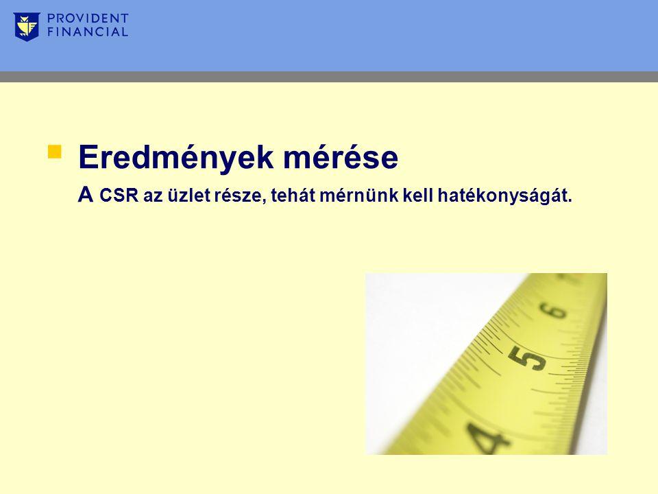  Eredmények mérése A CSR az üzlet része, tehát mérnünk kell hatékonyságát.