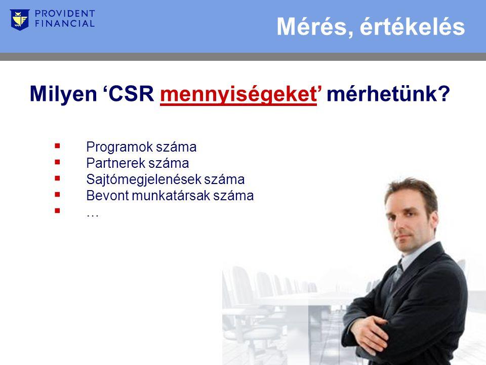 Mérés, értékelés Milyen 'CSR mennyiségeket' mérhetünk.