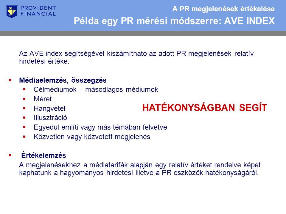 A PR megjelenések értékelése Példa egy PR mérési módszerre: AVE INDEX Az AVE index segítségével kiszámítható az adott PR megjelenések relatív hirdetési értéke.