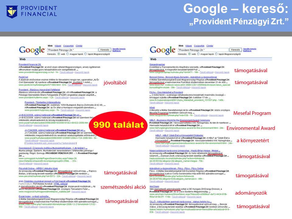 """Google – kereső: """"Provident Pénzügyi Zrt."""