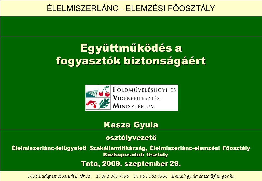 ÉLELMISZERLÁNC - ELEMZÉSI FŐOSZTÁLY 1055 Budapest, Kossuth L. tér 11. T: 06 1 301 4486 F: 06 1 301 4808 E-mail: gyula.kasza@fvm.gov.hu Együttműködés a