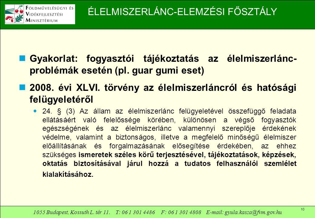 1055 Budapest, Kossuth L. tér 11. T: 06 1 301 4486 F: 06 1 301 4808 E-mail: gyula.kasza@fvm.gov.hu 10 ÉLELMISZERLÁNC-ELEMZÉSI FŐSZTÁLY  Gyakorlat: fo