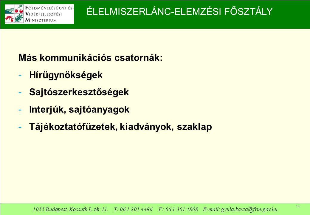 1055 Budapest, Kossuth L. tér 11. T: 06 1 301 4486 F: 06 1 301 4808 E-mail: gyula.kasza@fvm.gov.hu 14 ÉLELMISZERLÁNC-ELEMZÉSI FŐSZTÁLY Más kommunikáci