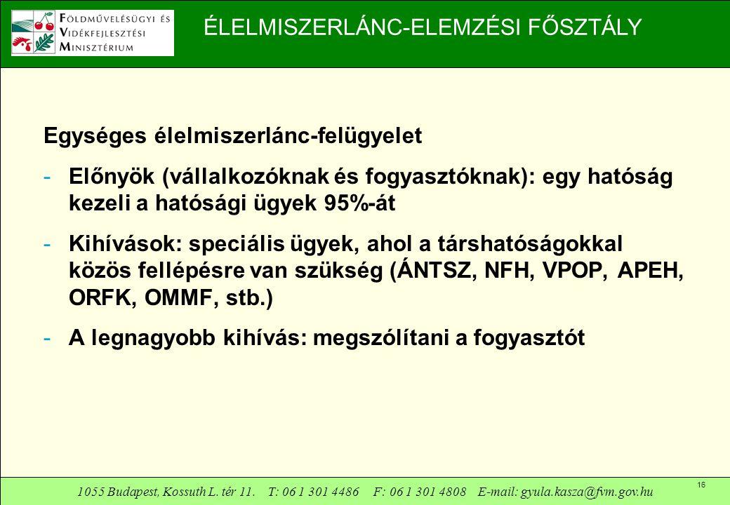 1055 Budapest, Kossuth L. tér 11. T: 06 1 301 4486 F: 06 1 301 4808 E-mail: gyula.kasza@fvm.gov.hu 16 ÉLELMISZERLÁNC-ELEMZÉSI FŐSZTÁLY Egységes élelmi