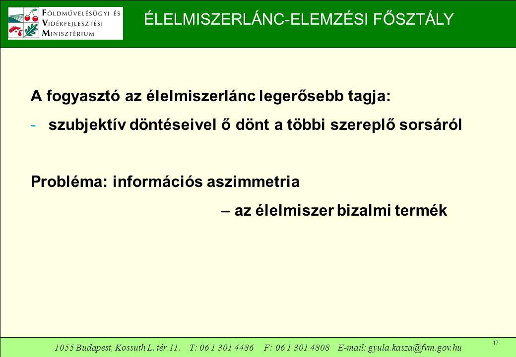 1055 Budapest, Kossuth L. tér 11. T: 06 1 301 4486 F: 06 1 301 4808 E-mail: gyula.kasza@fvm.gov.hu 17 ÉLELMISZERLÁNC-ELEMZÉSI FŐSZTÁLY A fogyasztó az