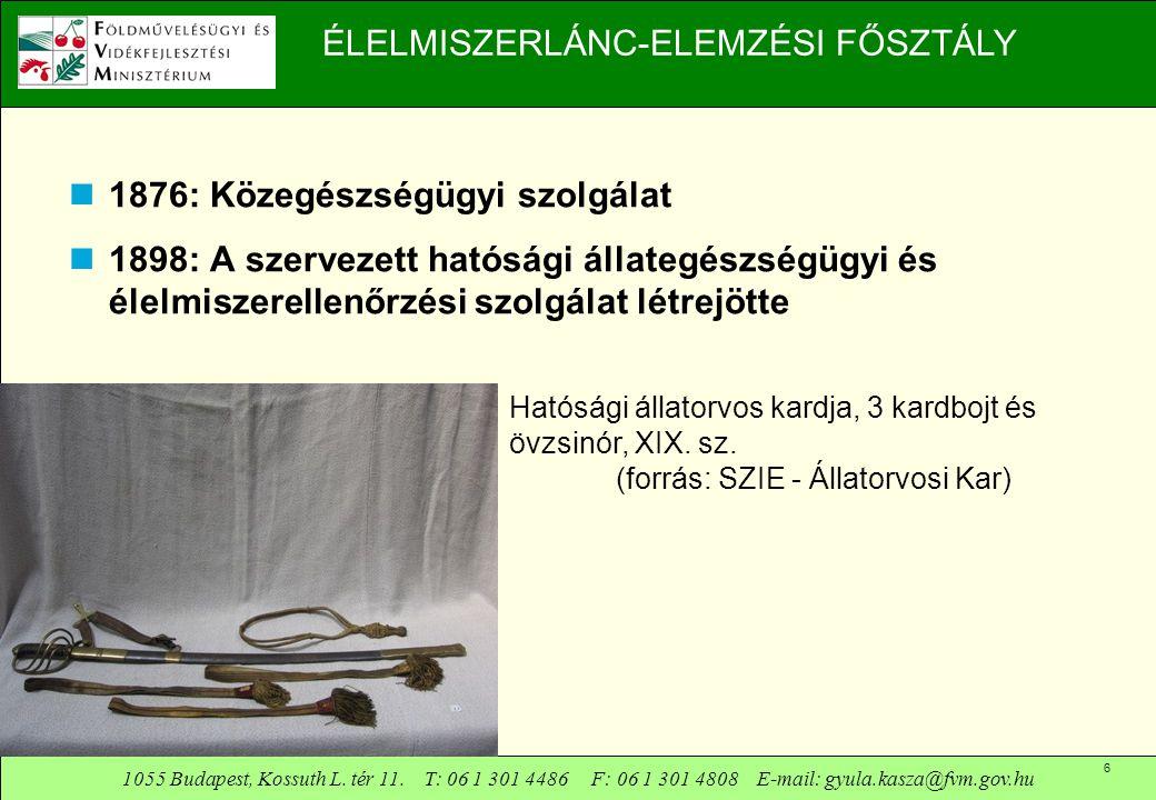 1055 Budapest, Kossuth L. tér 11. T: 06 1 301 4486 F: 06 1 301 4808 E-mail: gyula.kasza@fvm.gov.hu 6 ÉLELMISZERLÁNC-ELEMZÉSI FŐSZTÁLY  1876: Közegész