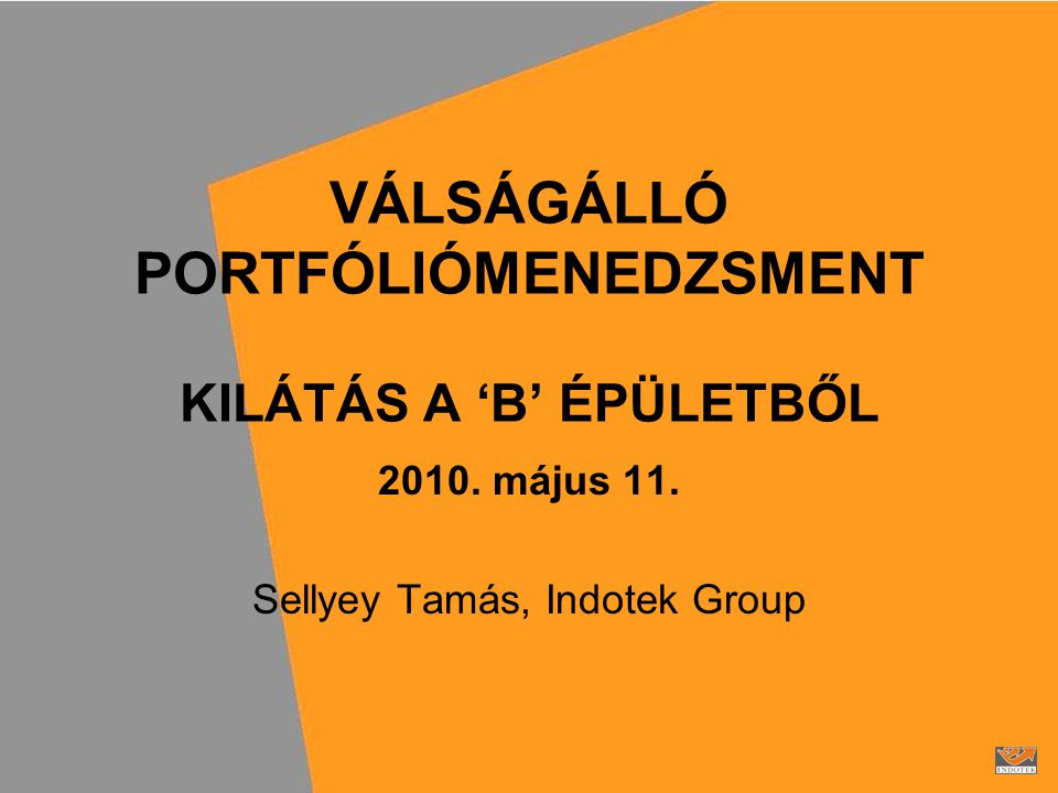 VÁLSÁGÁLLÓ PORTFÓLIÓMENEDZSMENT KILÁTÁS A 'B' ÉPÜLETBŐL 2010.