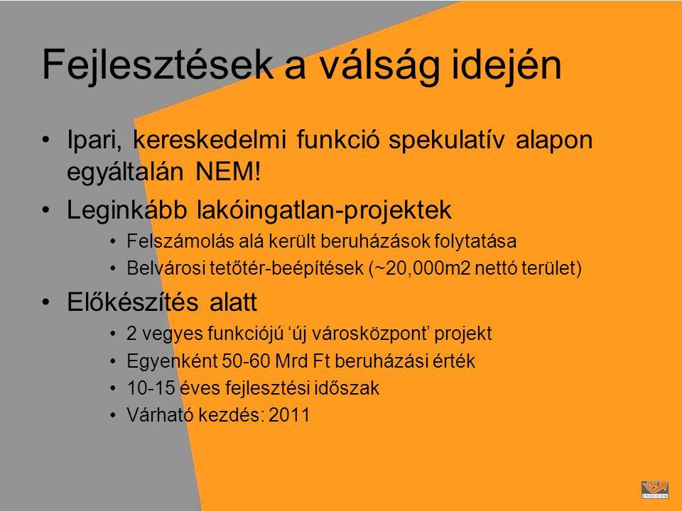 Fejlesztések a válság idején •Ipari, kereskedelmi funkció spekulatív alapon egyáltalán NEM.
