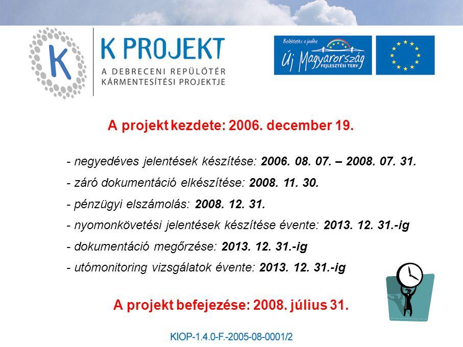 A projekt kezdete: 2006. december 19. A projekt befejezése: 2008. július 31. - negyedéves jelentések készítése: 2006. 08. 07. – 2008. 07. 31. - záró d