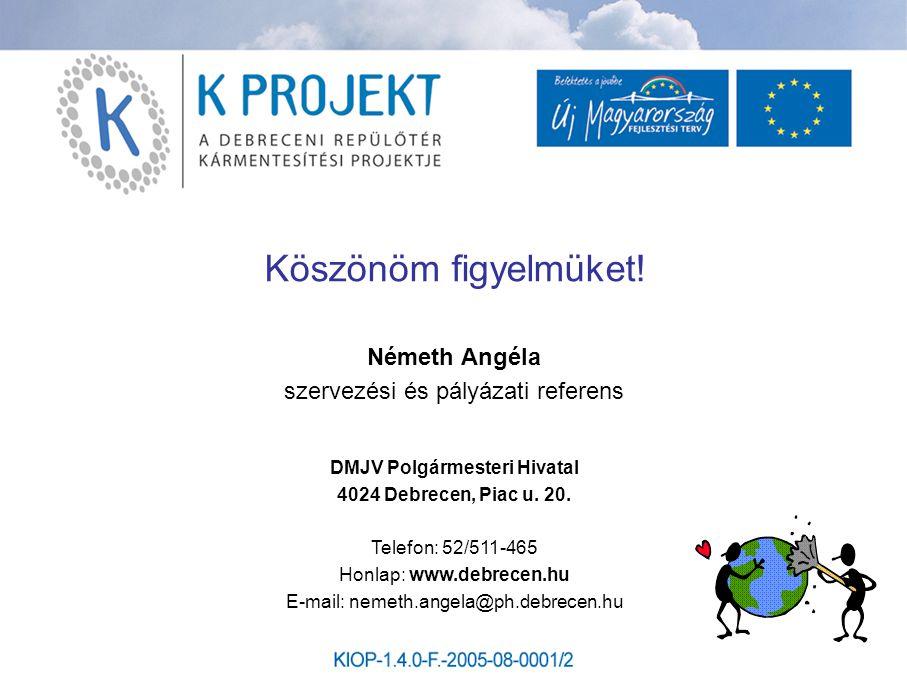 Köszönöm figyelmüket! Németh Angéla szervezési és pályázati referens DMJV Polgármesteri Hivatal 4024 Debrecen, Piac u. 20. Telefon: 52/511-465 Honlap: