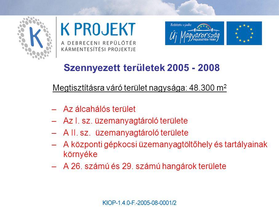Szennyezett területek 2005 - 2008 Megtisztításra váró terület nagysága: 48.300 m 2 –Az álcahálós terület –Az I. sz. üzemanyagtároló területe –A II. sz