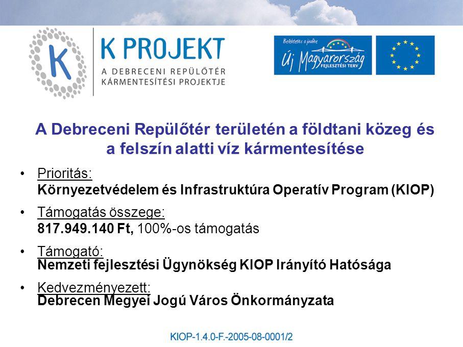 A Debreceni Repülőtér területén a földtani közeg és a felszín alatti víz kármentesítése •Prioritás: Környezetvédelem és Infrastruktúra Operatív Progra