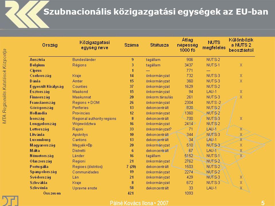 MTA Regionális Kutatások Központja Pálné Kovács Ilona • 2007 5 Szubnacionális közigazgatási egységek az EU-ban
