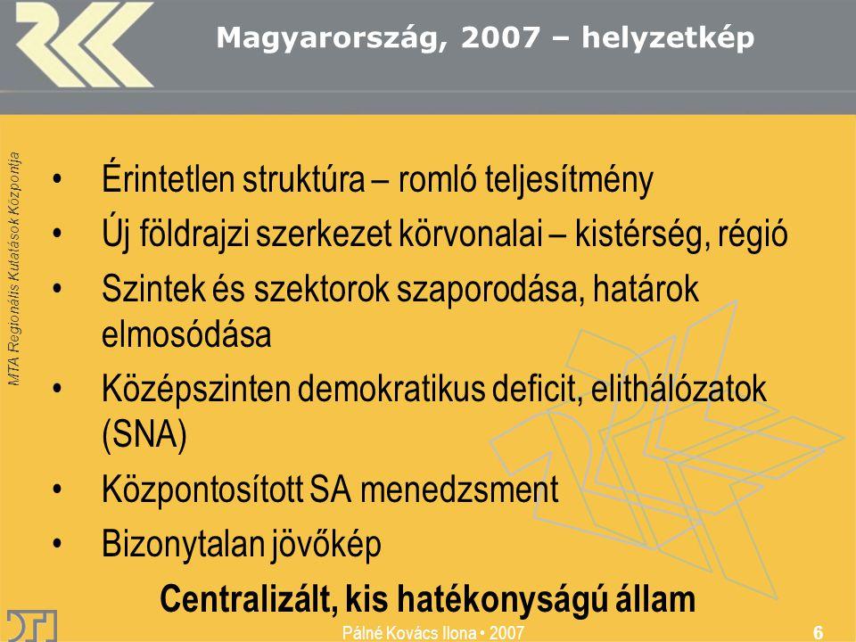 MTA Regionális Kutatások Központja Pálné Kovács Ilona • 2007 6 •Érintetlen struktúra – romló teljesítmény •Új földrajzi szerkezet körvonalai – kistérs