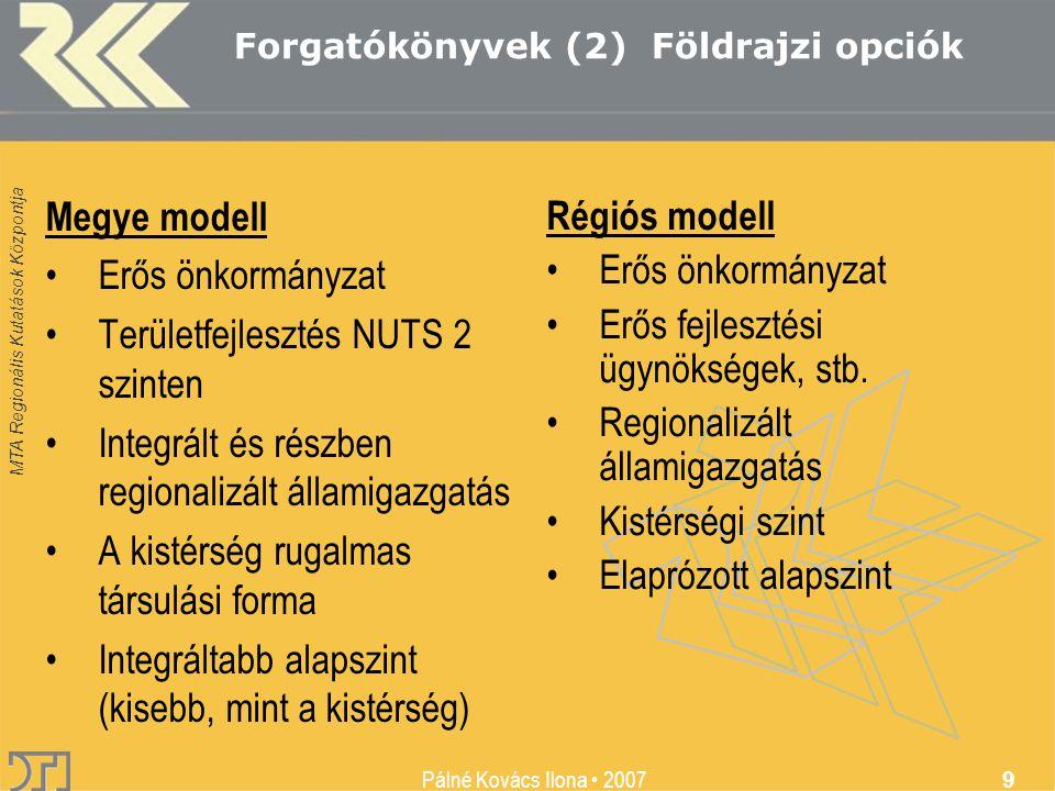 MTA Regionális Kutatások Központja Pálné Kovács Ilona • 2007 9 Megye modell •Erős önkormányzat •Területfejlesztés NUTS 2 szinten •Integrált és részben