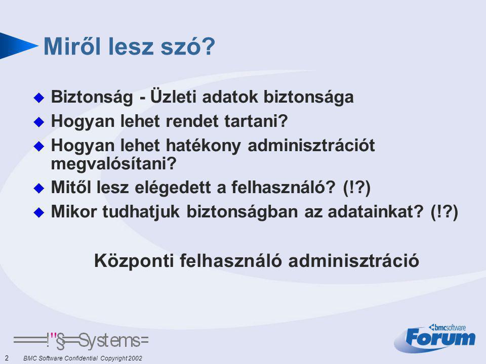 2 BMC Software Confidential Copyright 2002 Miről lesz szó.
