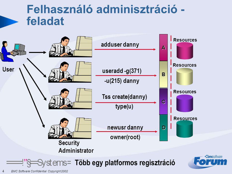 4 BMC Software Confidential Copyright 2002 Felhasználó adminisztráció - feladat Több egy platformos regisztráció User B Resources adduser danny A Resources C D Security Administrator Tss create(danny) type(u) useradd -g(371) -u(215) danny newusr danny owner(root)