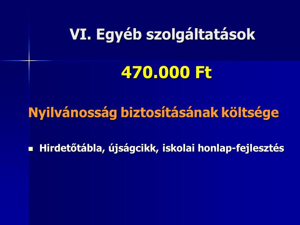 VI. Egyéb szolgáltatások 470.000 Ft Nyilvánosság biztosításának költsége  Hirdetőtábla, újságcikk, iskolai honlap-fejlesztés