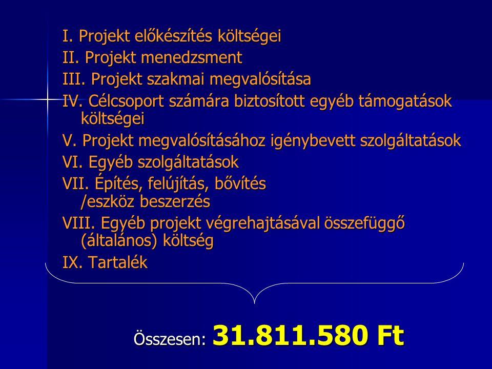 I. Projekt előkészítés költségei II. Projekt menedzsment III. Projekt szakmai megvalósítása IV. Célcsoport számára biztosított egyéb támogatások költs