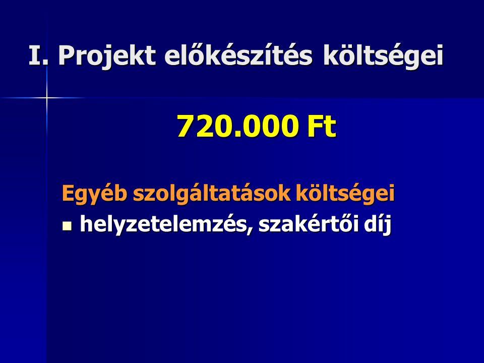 I. Projekt előkészítés költségei 720.000 Ft Egyéb szolgáltatások költségei  helyzetelemzés, szakértői díj