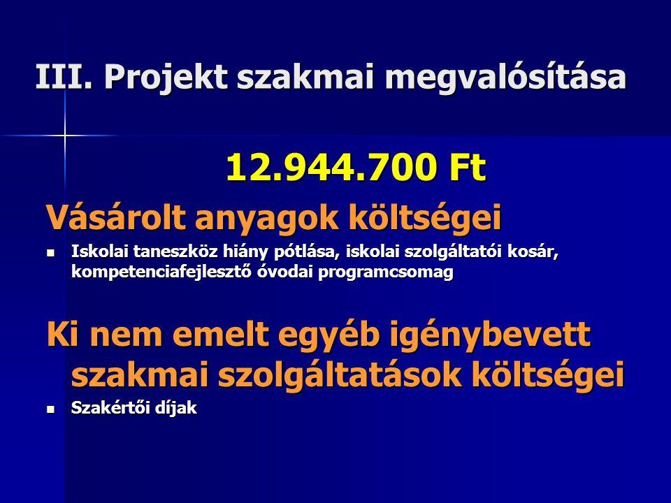 III. Projekt szakmai megvalósítása 12.944.700 Ft Vásárolt anyagok költségei  Iskolai taneszköz hiány pótlása, iskolai szolgáltatói kosár, kompetencia