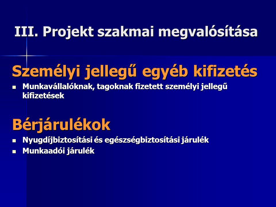 III. Projekt szakmai megvalósítása Személyi jellegű egyéb kifizetés  Munkavállalóknak, tagoknak fizetett személyi jellegű kifizetések Bérjárulékok 