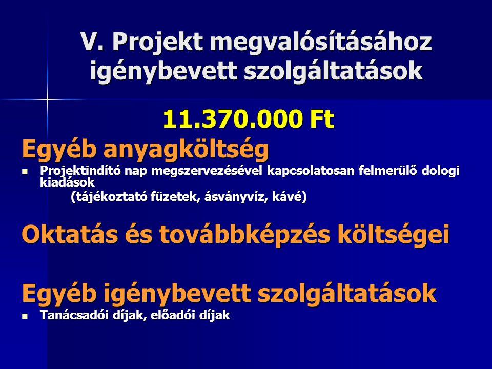 V. Projekt megvalósításához igénybevett szolgáltatások 11.370.000 Ft Egyéb anyagköltség  Projektindító nap megszervezésével kapcsolatosan felmerülő d