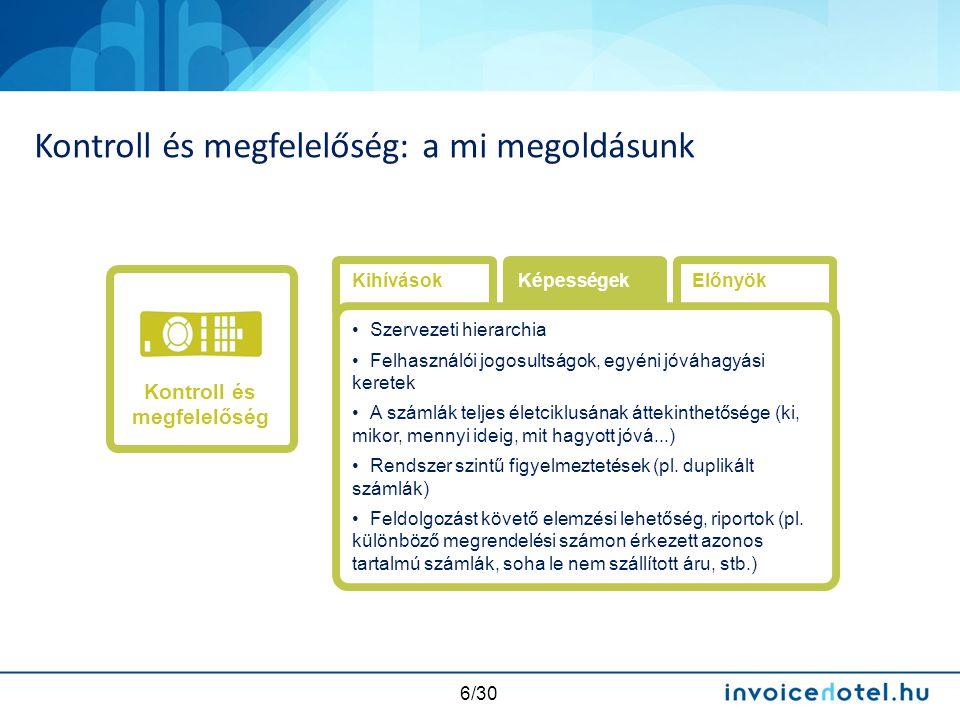 17/30 3 utas egyeztetés: megrendelés – TIG – számla Számla egyeztetés a jóváhagyott rendeléssel és TIG-gel Számla nem egyezik a megrendeléssel és/vagy TIG-gel (eltérés) Automatikus feladás Jóváhagyási workflow Igénylés Igény jóváhagyás MegrendelésTIG Számla beérkezés Számla egyeztetés Könyvelés és kifizetés Számla jóváhagyás ICR