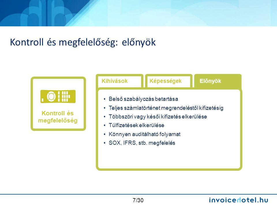 7/30 Kontroll és megfelelőség: előnyök Kihívások •Belső szabályozás betartása •Teljes számlatörténet megrendeléstől kifizetésig •Többszöri vagy késői