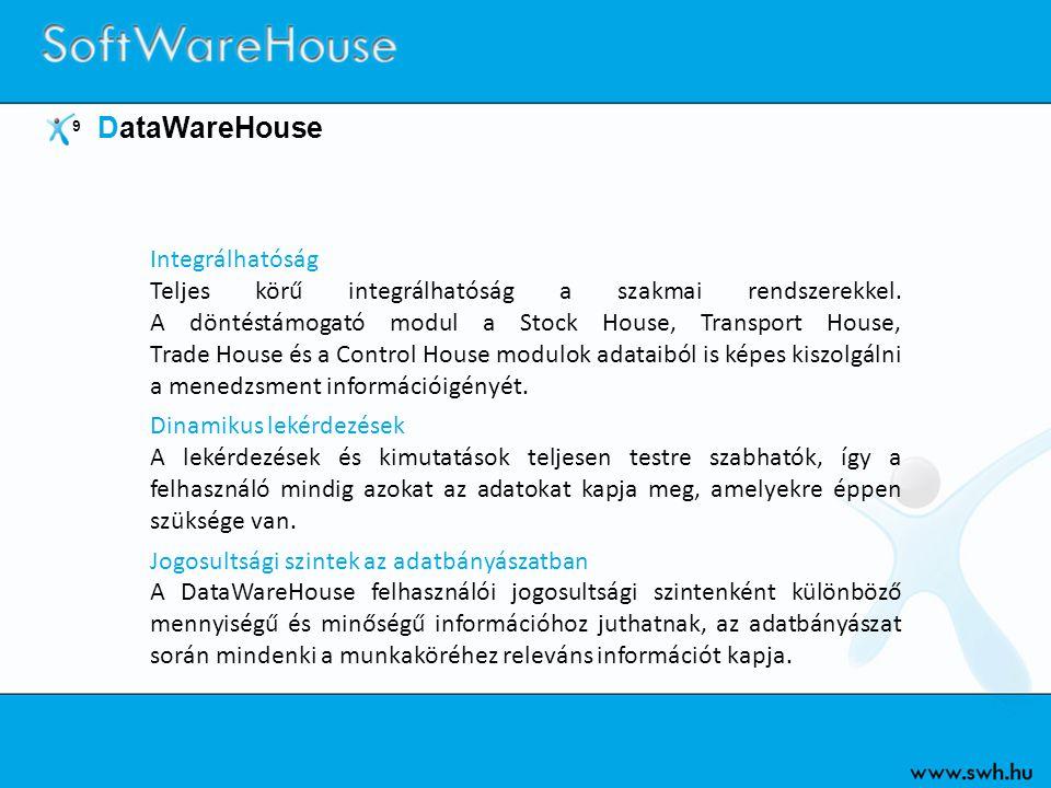 9 DataWareHouse Integrálhatóság Teljes körű integrálhatóság a szakmai rendszerekkel. A döntéstámogató modul a Stock House, Transport House, Trade Hous