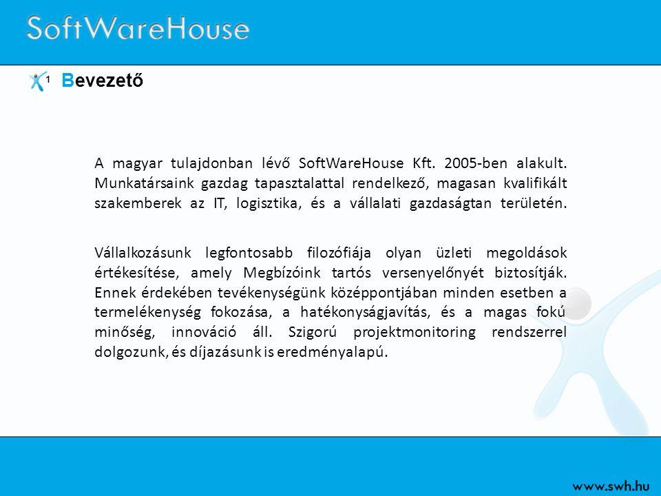1 Bevezető A magyar tulajdonban lévő SoftWareHouse Kft. 2005-ben alakult. Munkatársaink gazdag tapasztalattal rendelkező, magasan kvalifikált szakembe
