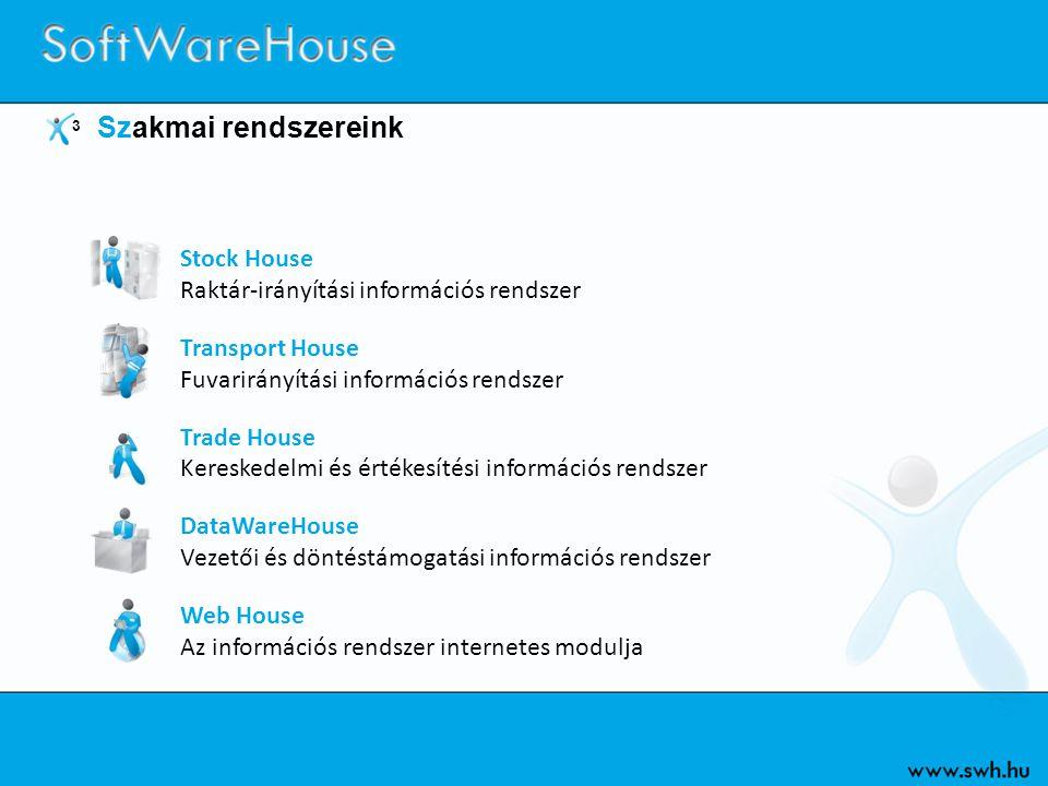 3 Szakmai rendszereink Stock House Raktár-irányítási információs rendszer Transport House Fuvarirányítási információs rendszer Trade House Kereskedelm