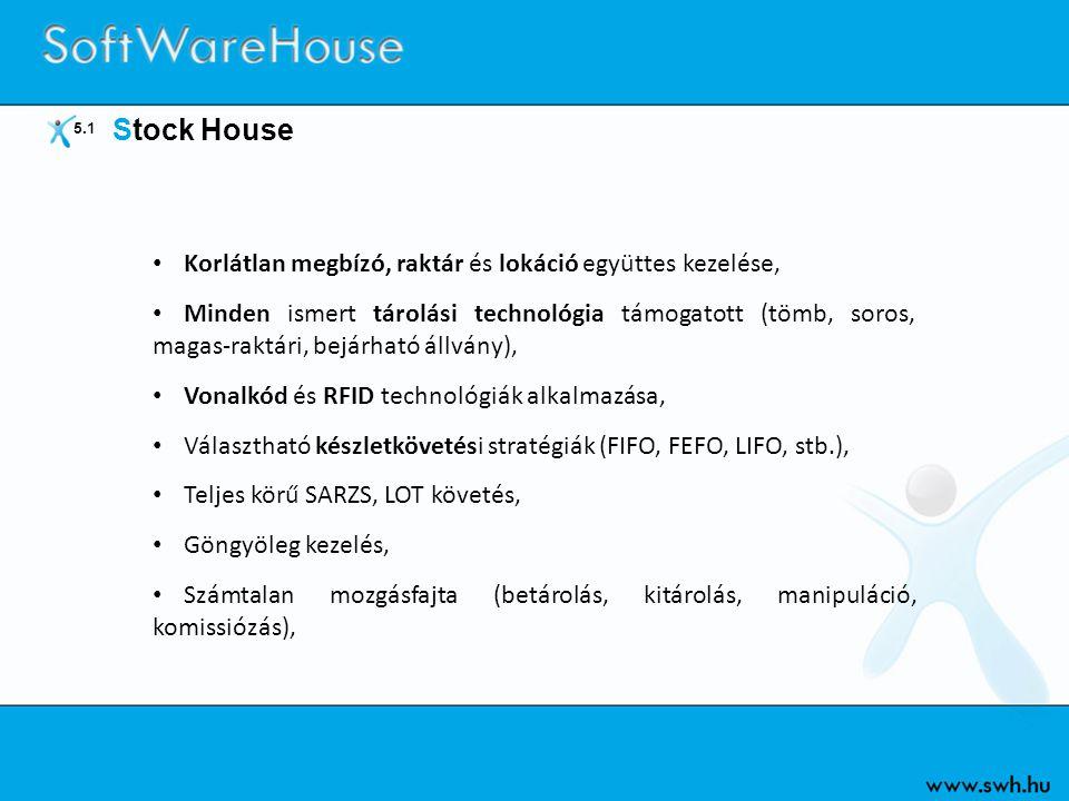5.1 Stock House • Korlátlan megbízó, raktár és lokáció együttes kezelése, • Minden ismert tárolási technológia támogatott (tömb, soros, magas-raktári,