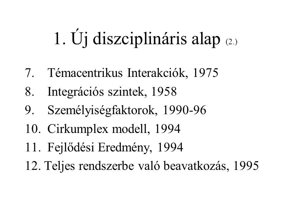 1. Új diszciplináris alap (2.) 7. Témacentrikus Interakciók, 1975 8. Integrációs szintek, 1958 9. Személyiségfaktorok, 1990-96 10. Cirkumplex modell,