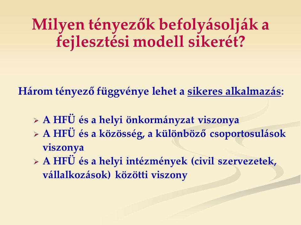 Milyen tényezők befolyásolják a fejlesztési modell sikerét.