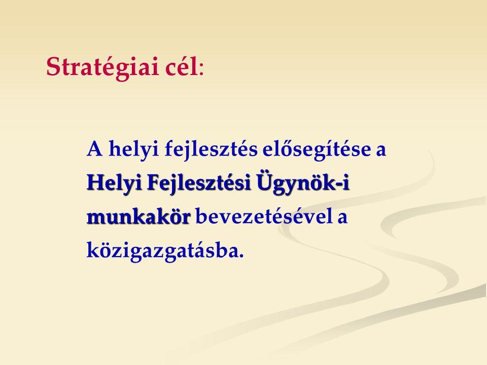Stratégiai cél: Helyi Fejlesztési Ügynök-i munkakör A helyi fejlesztés elősegítése a Helyi Fejlesztési Ügynök-i munkakör bevezetésével a közigazgatásba.