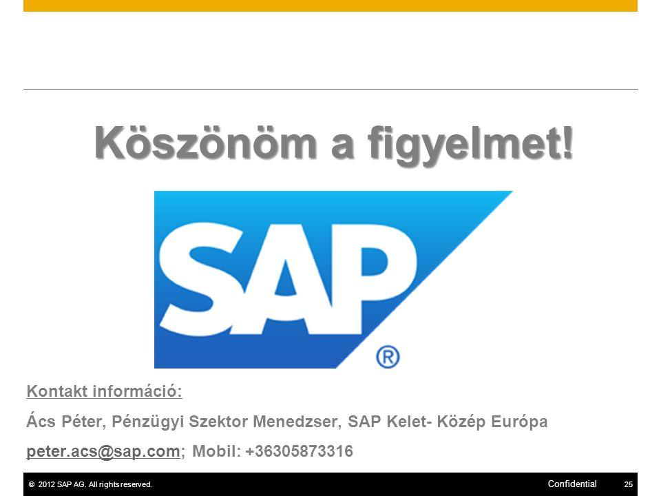 ©2012 SAP AG.All rights reserved.25 Confidential Köszönöm a figyelmet.