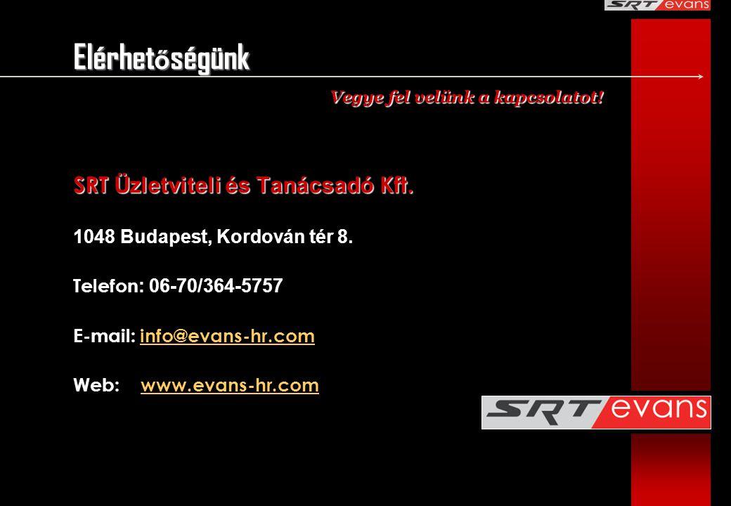 Elérhet ő ségünk SRT Üzletviteli és Tanácsadó Kft. 1048 Budapest, Kordován tér 8. Telefon : 06-70/364-5757 E-mail: info@evans-hr.cominfo@evans-hr.com