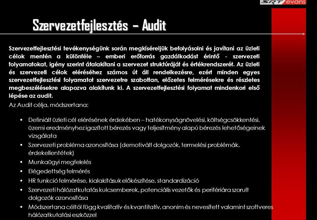 Szervezetfejlesztés – Audit Szervezetfejlesztési tevékenységünk során megkíséreljük befolyásolni és javítani az üzleti célok mentén a különféle – embe