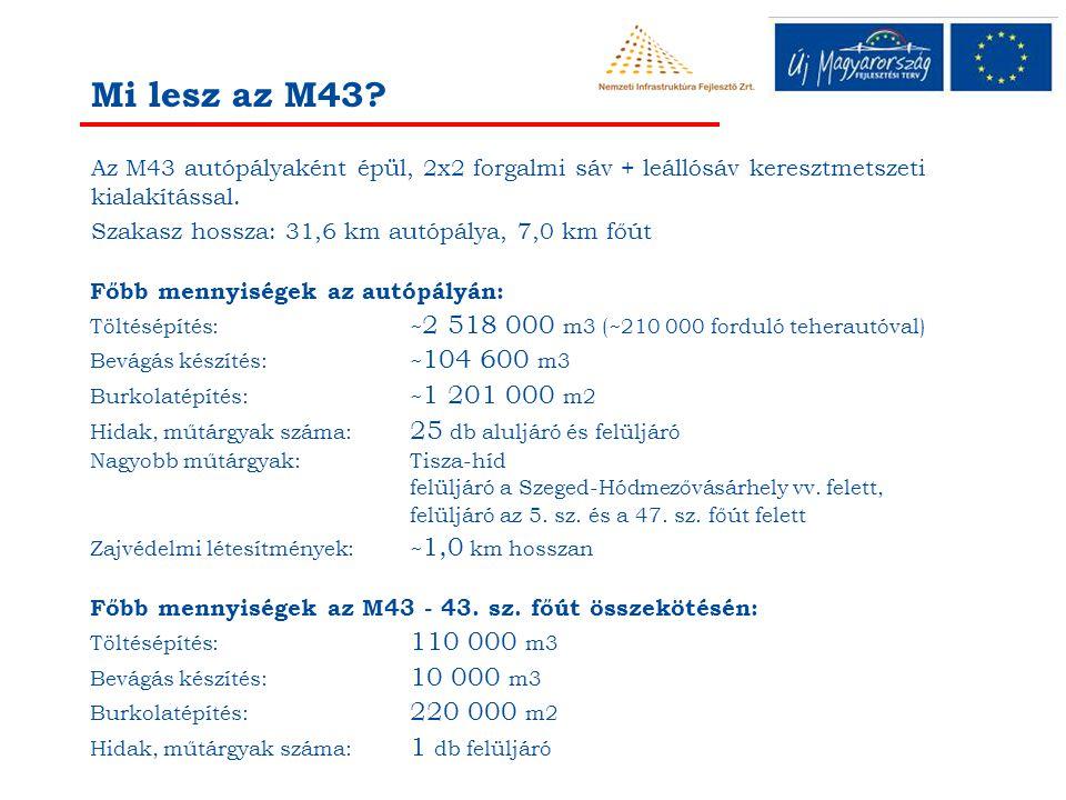 Az M43 autópályaként épül, 2x2 forgalmi sáv + leállósáv keresztmetszeti kialakítással. Szakasz hossza: 31,6 km autópálya, 7,0 km főút Mi lesz az M43?