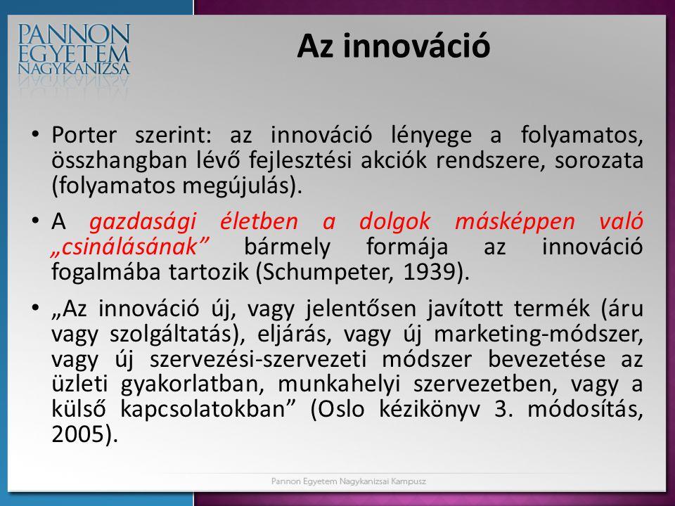 Az innováció • Porter szerint: az innováció lényege a folyamatos, összhangban lévő fejlesztési akciók rendszere, sorozata (folyamatos megújulás). • A
