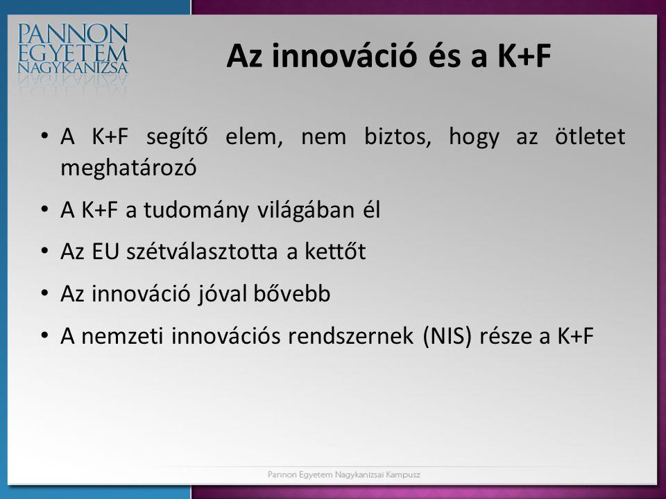 Az innováció és a K+F • A K+F segítő elem, nem biztos, hogy az ötletet meghatározó • A K+F a tudomány világában él • Az EU szétválasztotta a kettőt •