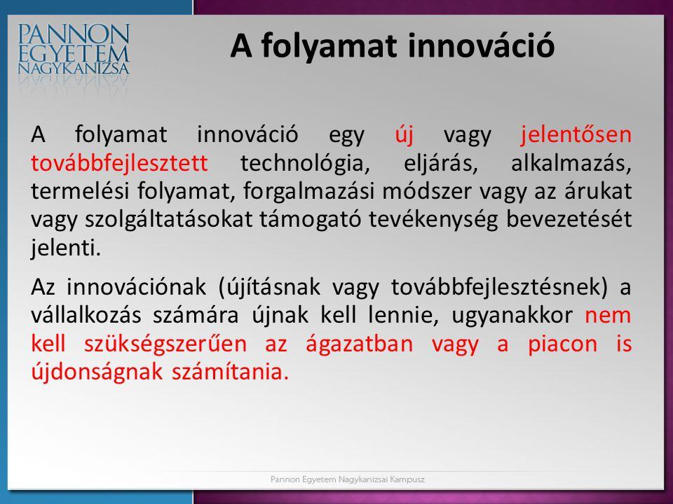 A folyamat innováció A folyamat innováció egy új vagy jelentősen továbbfejlesztett technológia, eljárás, alkalmazás, termelési folyamat, forgalmazási