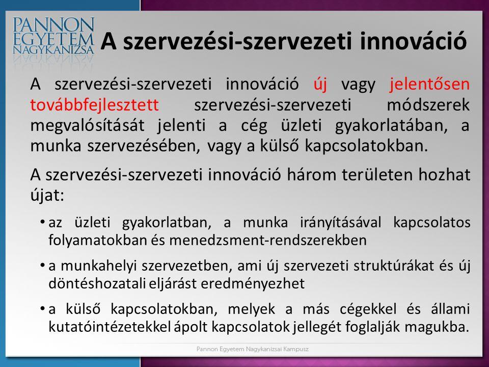 A szervezési-szervezeti innováció A szervezési-szervezeti innováció új vagy jelentősen továbbfejlesztett szervezési-szervezeti módszerek megvalósításá