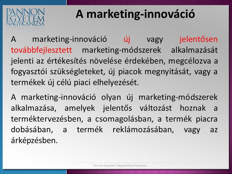 A marketing-innováció A marketing-innováció új vagy jelentősen továbbfejlesztett marketing-módszerek alkalmazását jelenti az értékesítés növelése érde